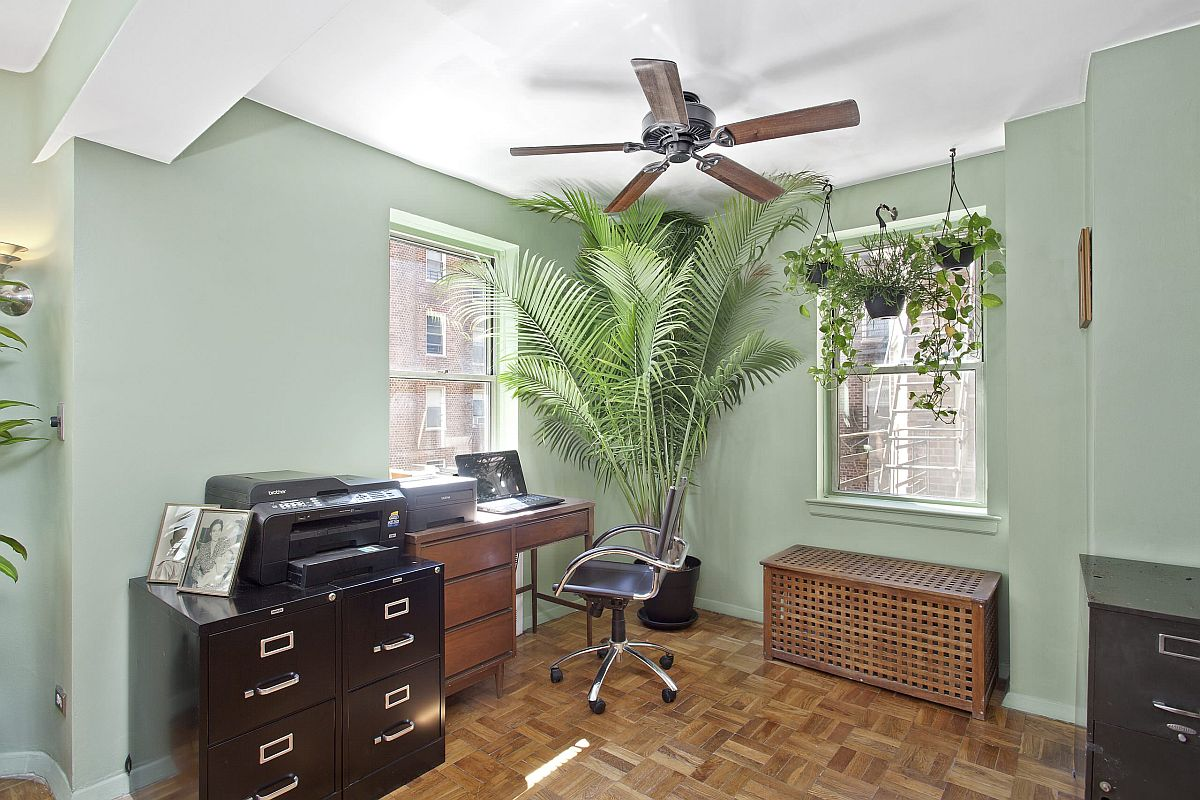 Indoor plants bring a touch of tropical glam to this traditional home office in Manhattan