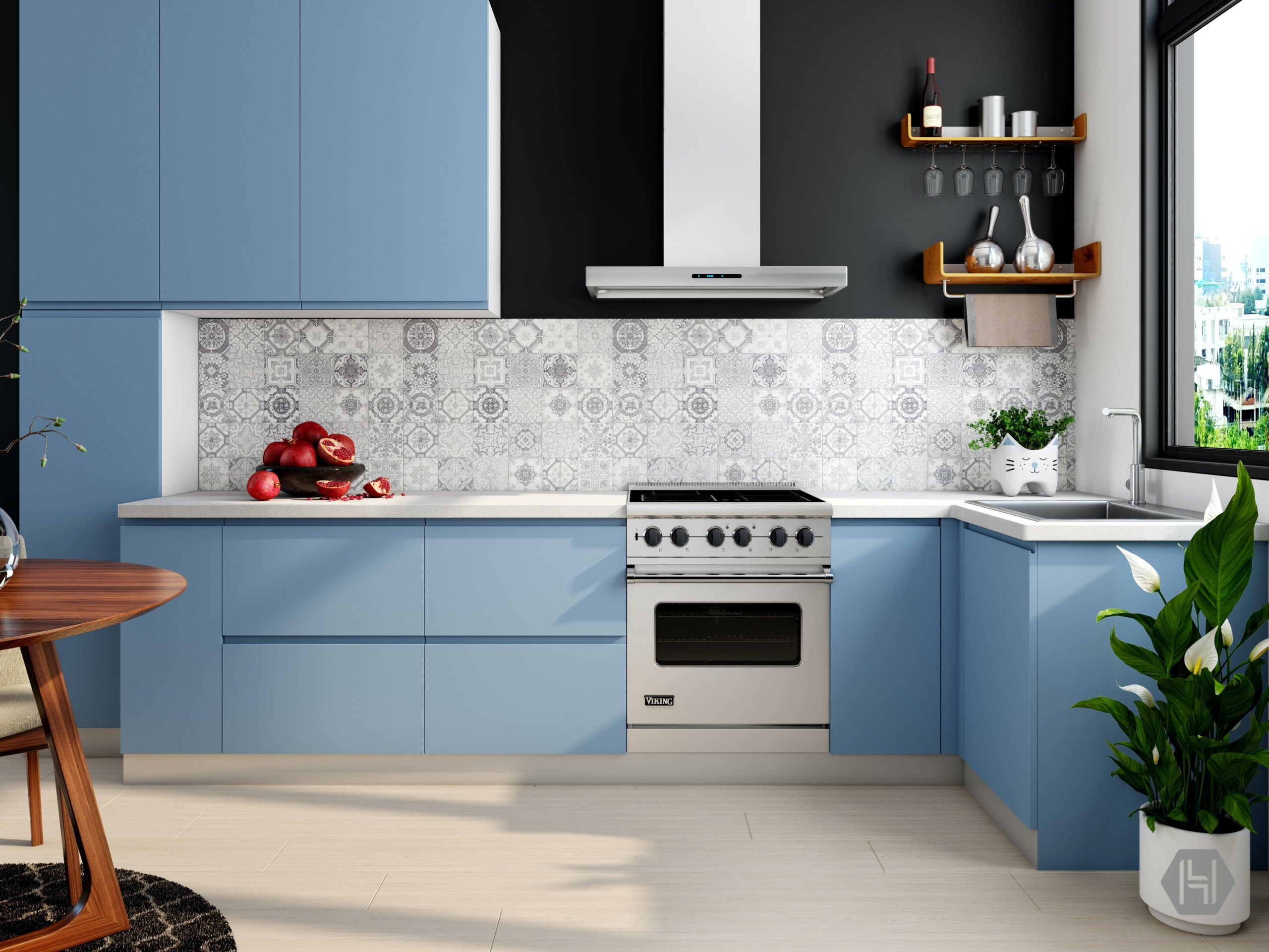 Kitchen interior with blue cabinets and tiled wall
