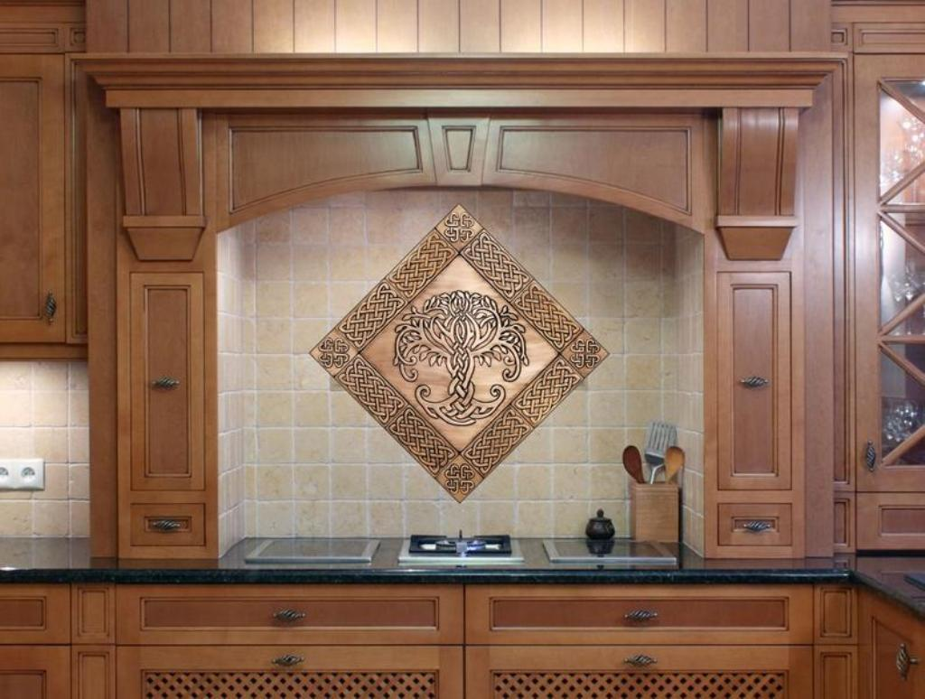 Kitchen with brown interior and celtic style stainless tiles