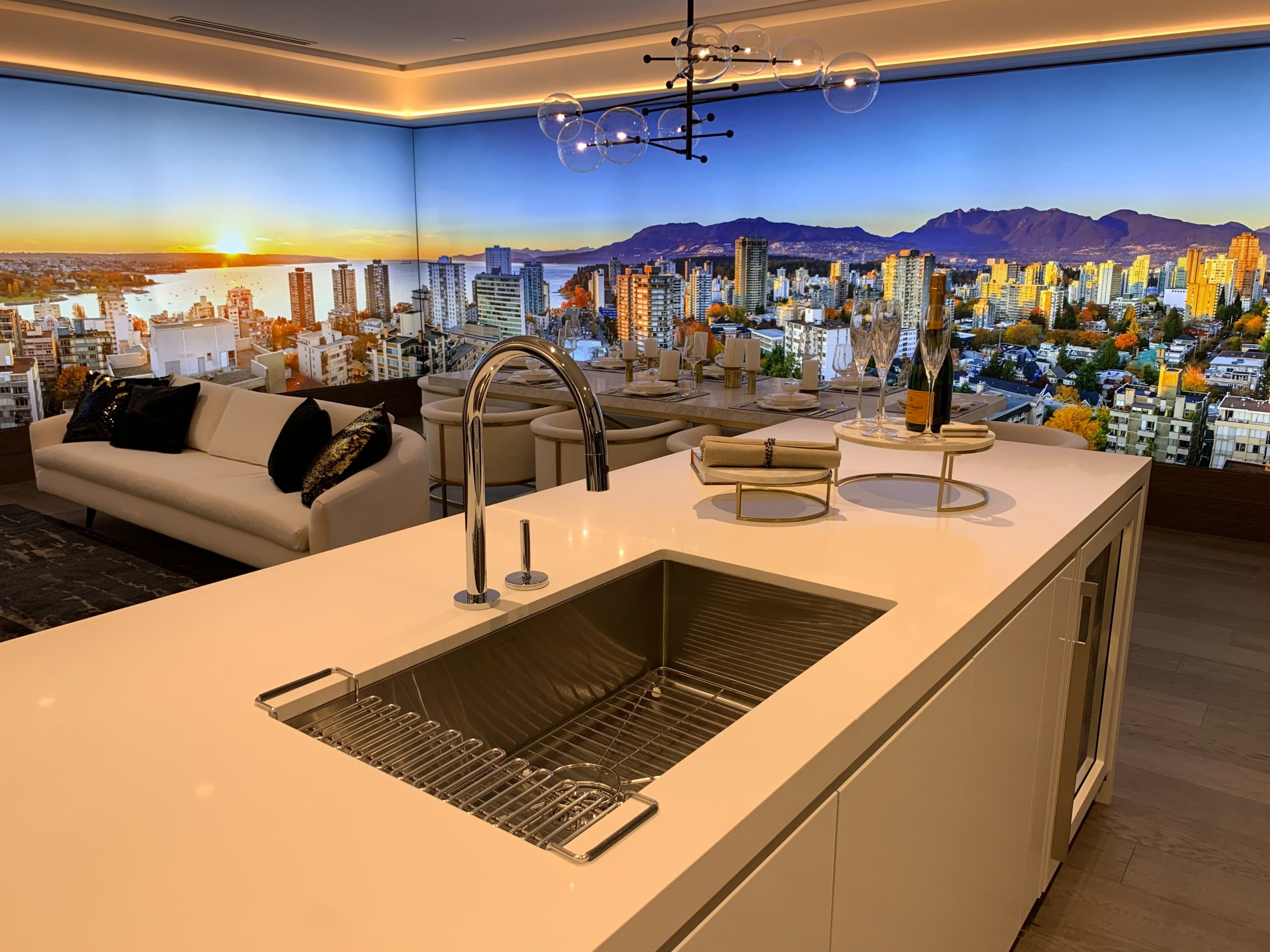 Kitchen with landscape mural on the wall