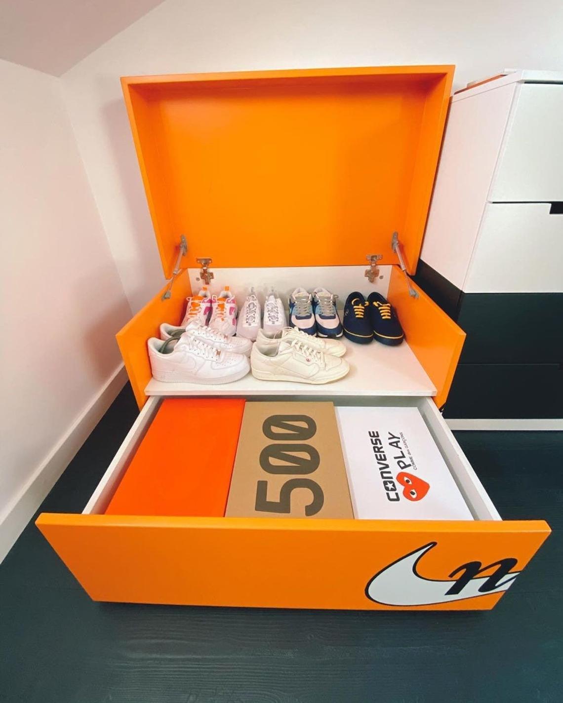 Large orange shoe box