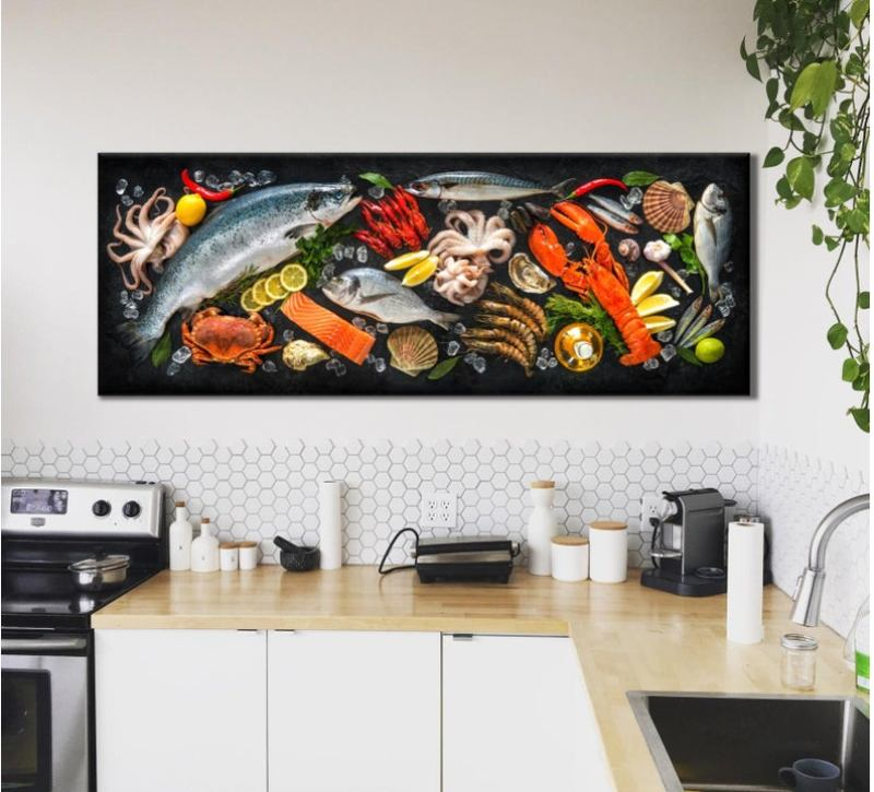 Large seafood painting on kitchen wall