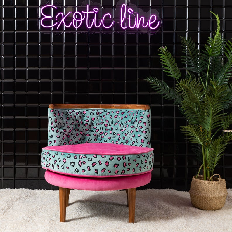 Leopard chair in light blue and pink beside a tall plant
