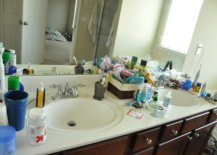Littered bathroom sink