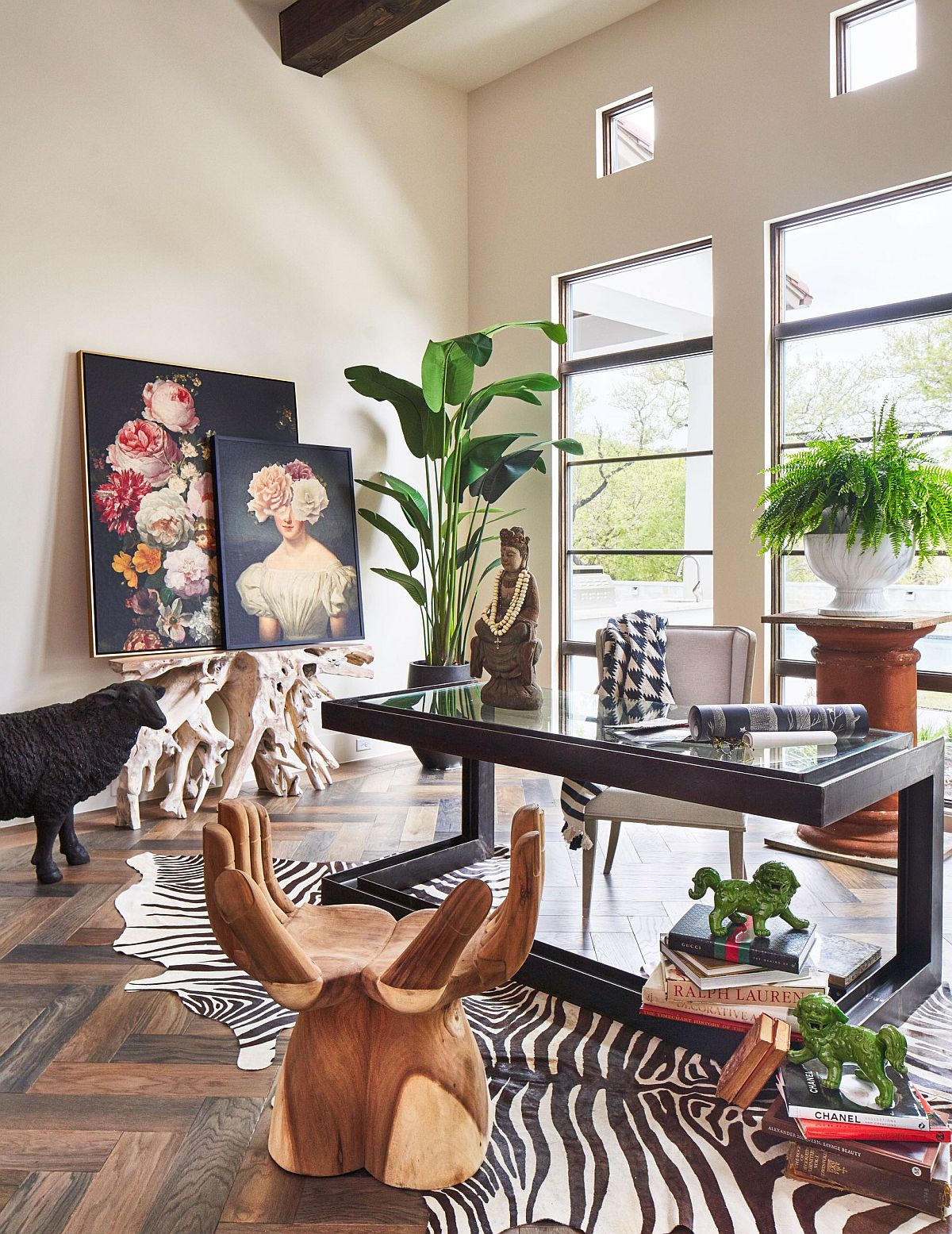 Mediterranean and eclectic influences thrown into the mix inside the home office