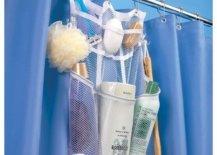 Mesh shower organizer on a shower curtain rail
