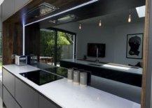 Grey mirror backsplash