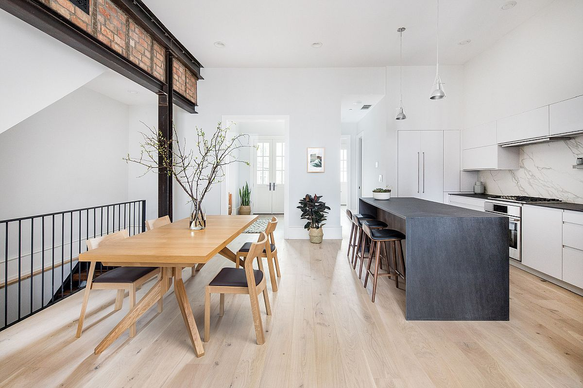 Modern Scandinavian style dining area and kitchen feel like an extension of one another