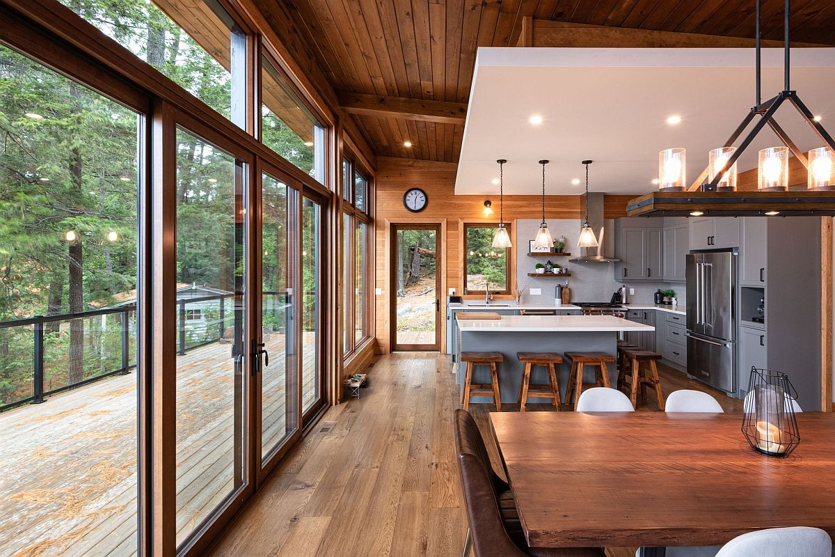 Most modern homes feature an open living area with kitchen and dining space