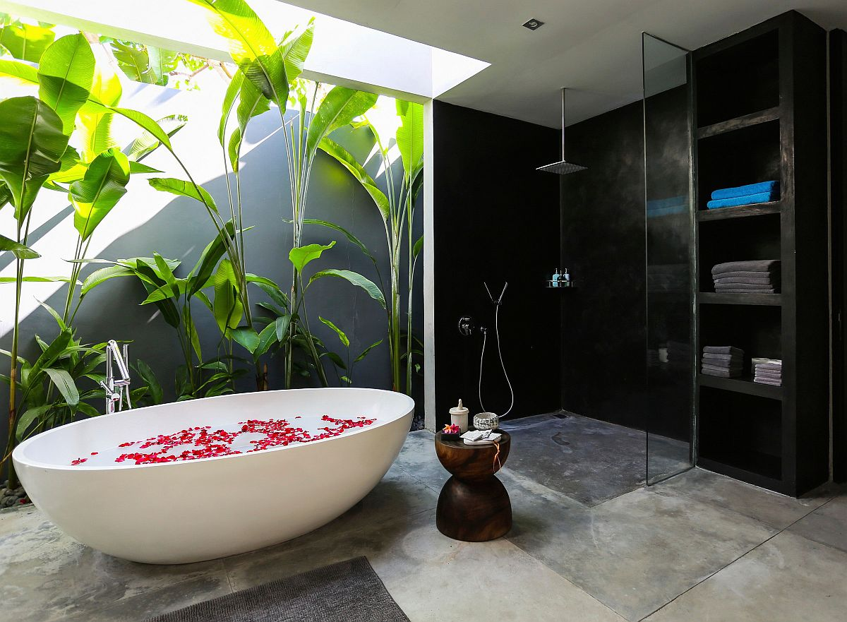 Natural greenery adds to tropical style of this relaxing contemporary bathroom