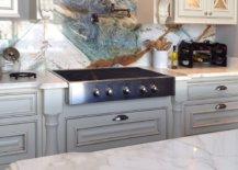 Natural stone kitchen backsplash