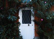 Plants surrounding white door