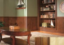 Room with wooden book shelf and wooden table