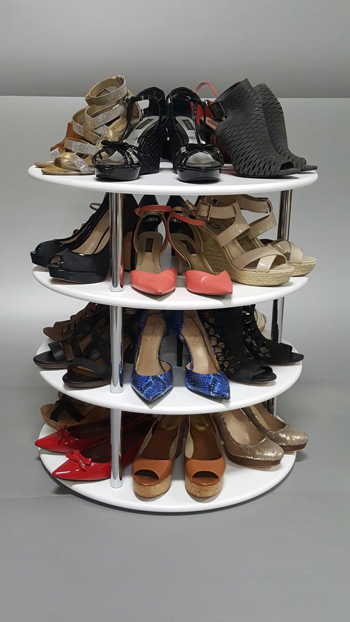 Rotating shoe shelf with shoes