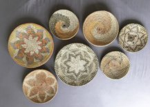 Seven wall rattan baskets in different designs and sizes