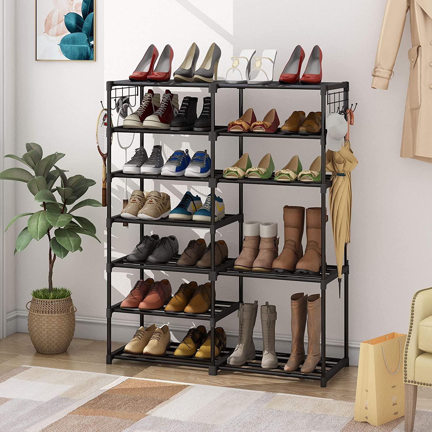Shoe rack filled with shoes