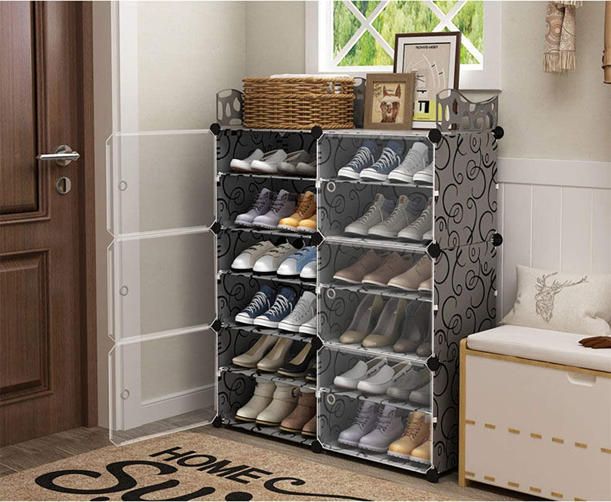 Shoe storage with transparent covers filled with shoes