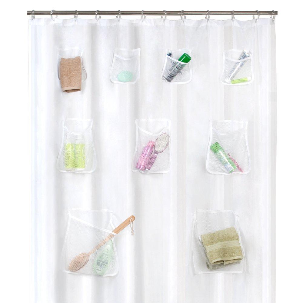 Shower curtain storage
