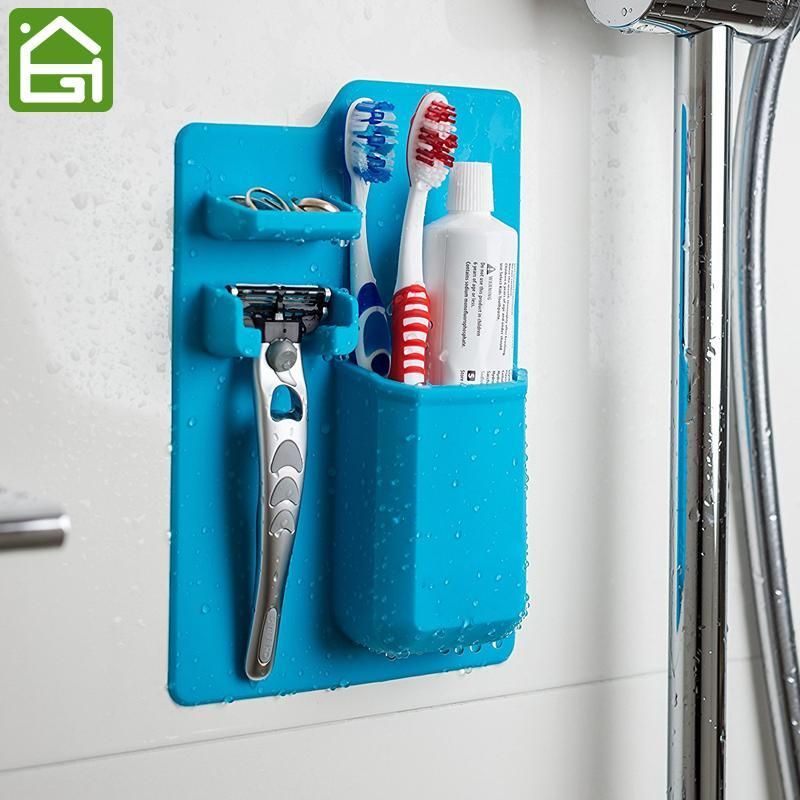 Silicone shower organizer for toothbrush and toothpaste