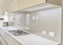 Silver glass kitchen backsplash