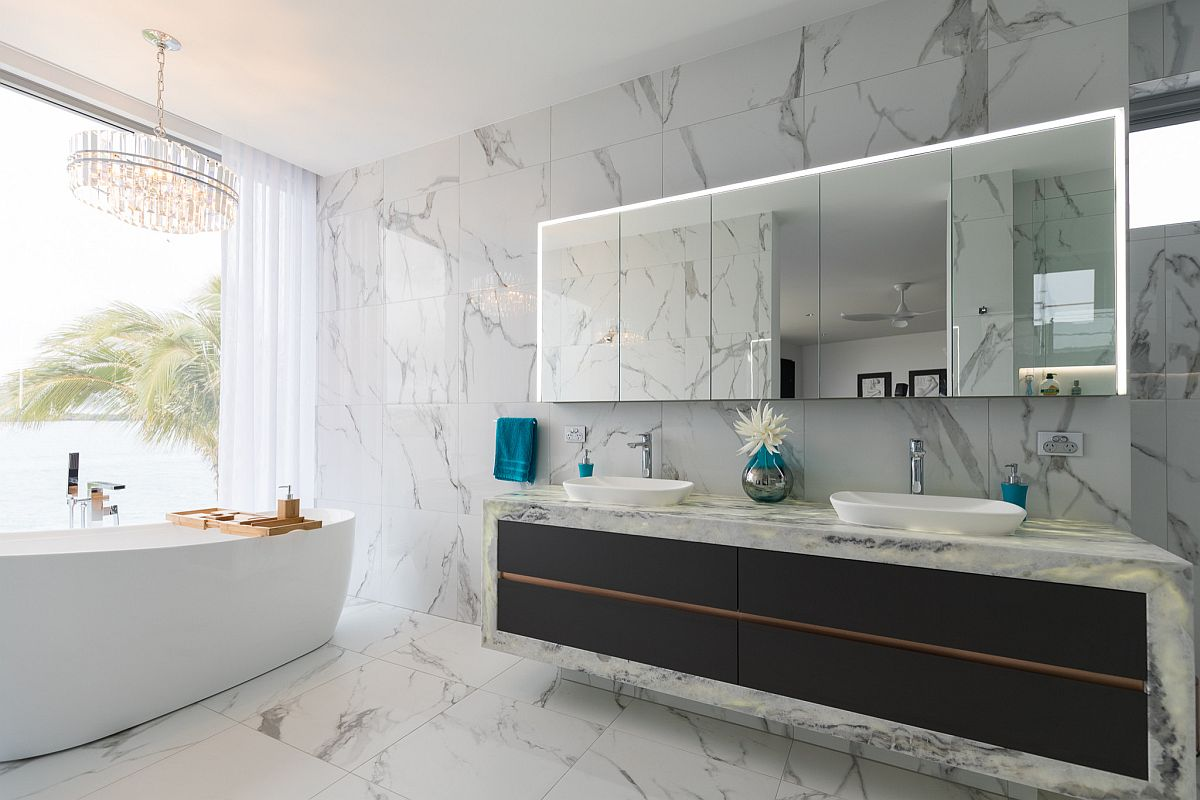 Sleek-and-stylish-contemporary-vanity-in-black-stands-in-contrast-to-the-white-marble-backdrop-99019