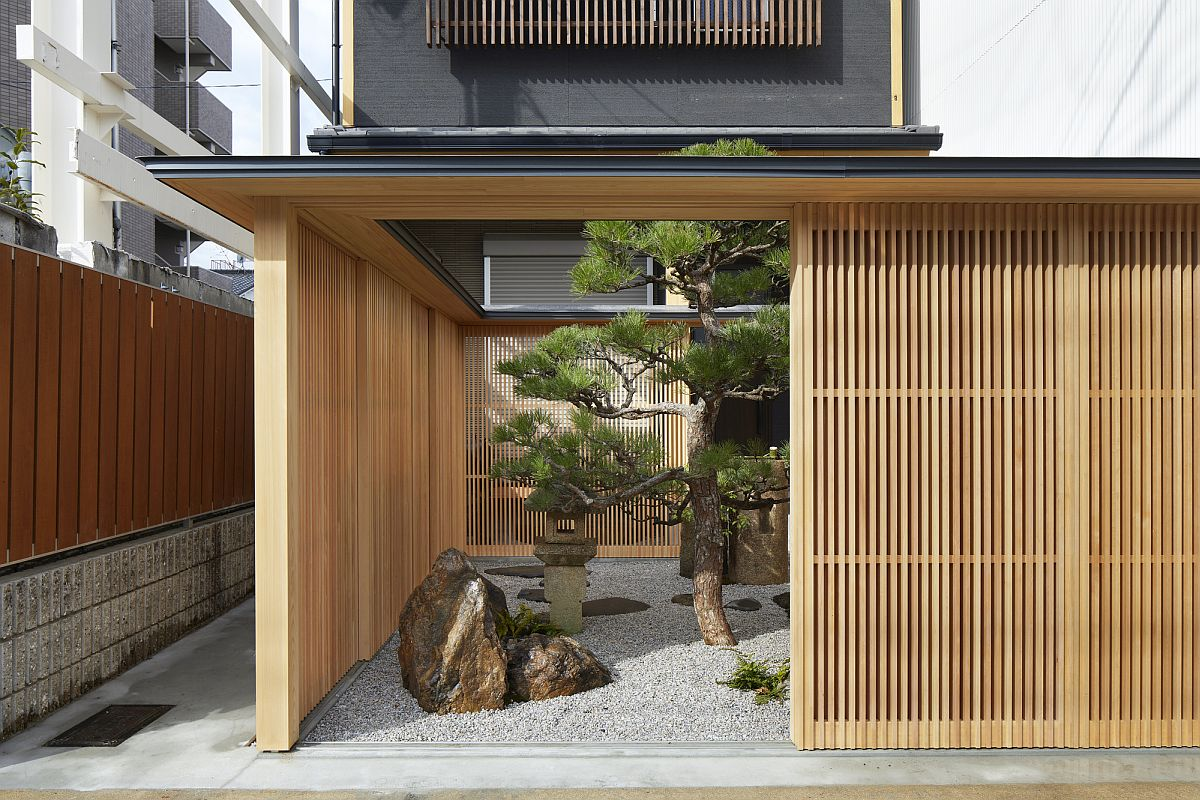 Sliding wooden lattice walls conceal the beautiful Japanese garden in Kyoto
