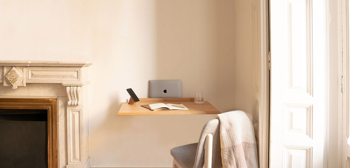 Slim and stylish Alada folding desk can turn the forgotten corner into a workspace