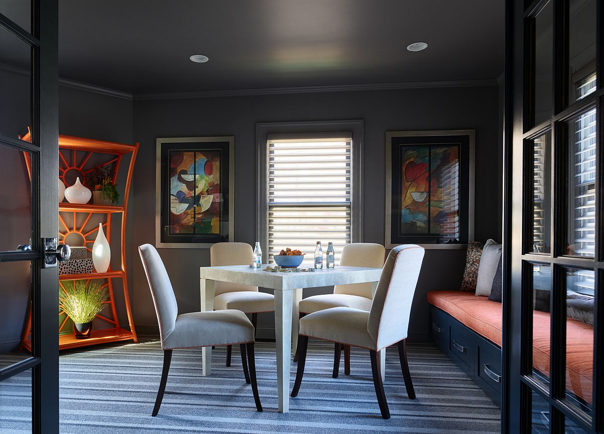 Sophisticated family room and game room with custom window seat and a lovely game table