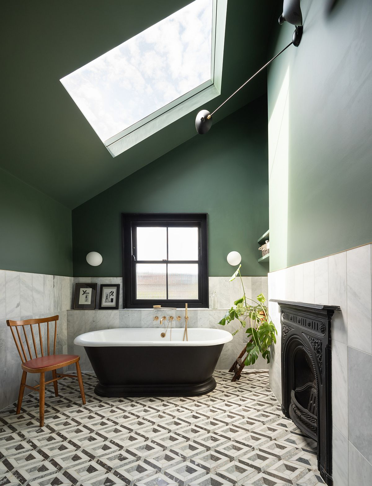 Traditional-bathub-brings-a-black-focal-point-to-this-eclectic-bathroom-in-green-and-white-89901