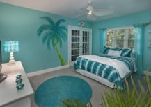 Turquoise accent wall for beach house