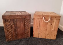 Two brown storage crate with lid
