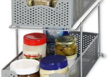Two layers cabinet basket with kitchen ingredients