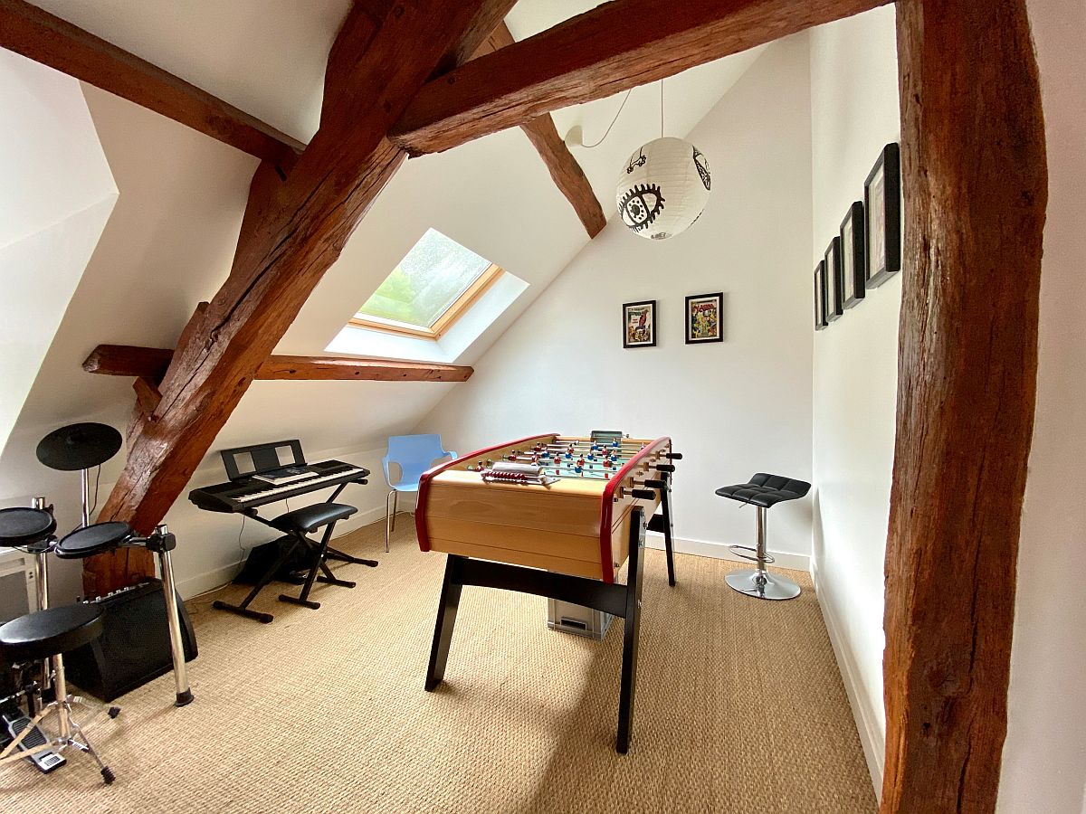 Unique and gorgeous game room that also functions as a music room in the attic