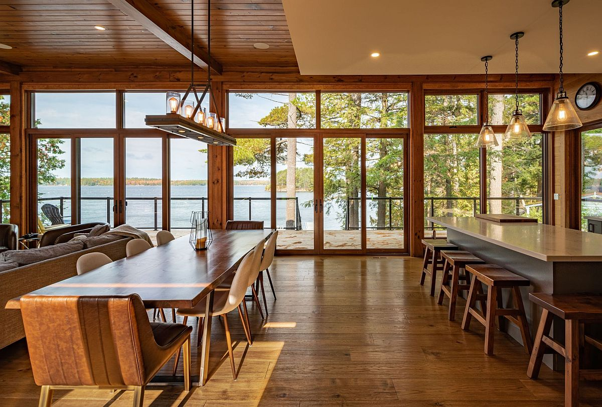 View of the river from the living area, kitchen and dining space