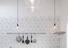 White geometric kitchen splashback tiles