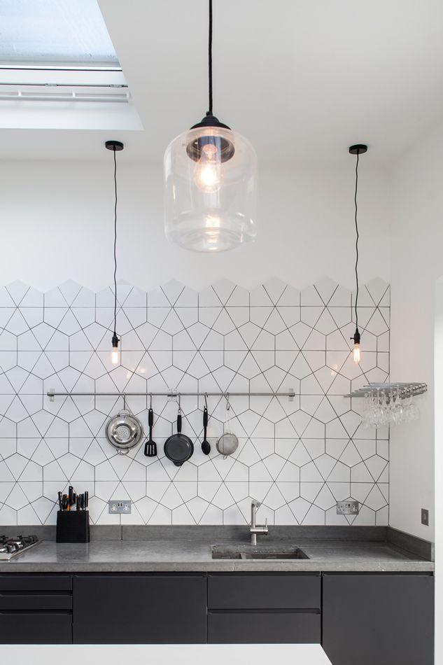 White geometric kitchen backsplash tiles