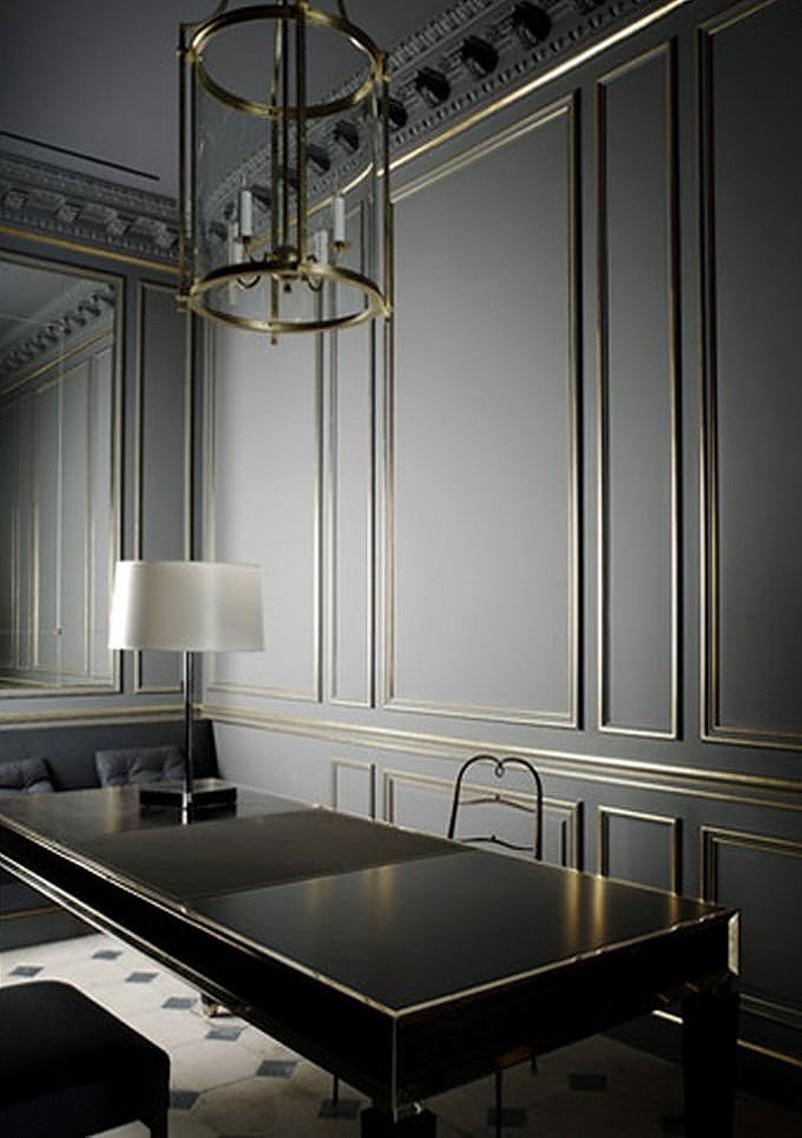 White lamp on black table