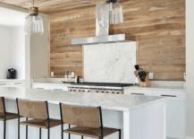 Wood planked kitchen backsplash