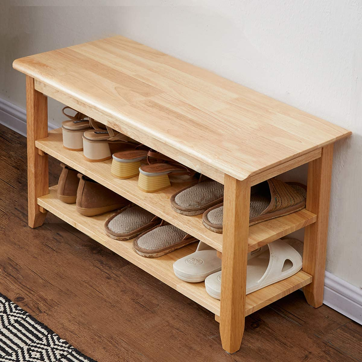 Wooden storage bench with shoes