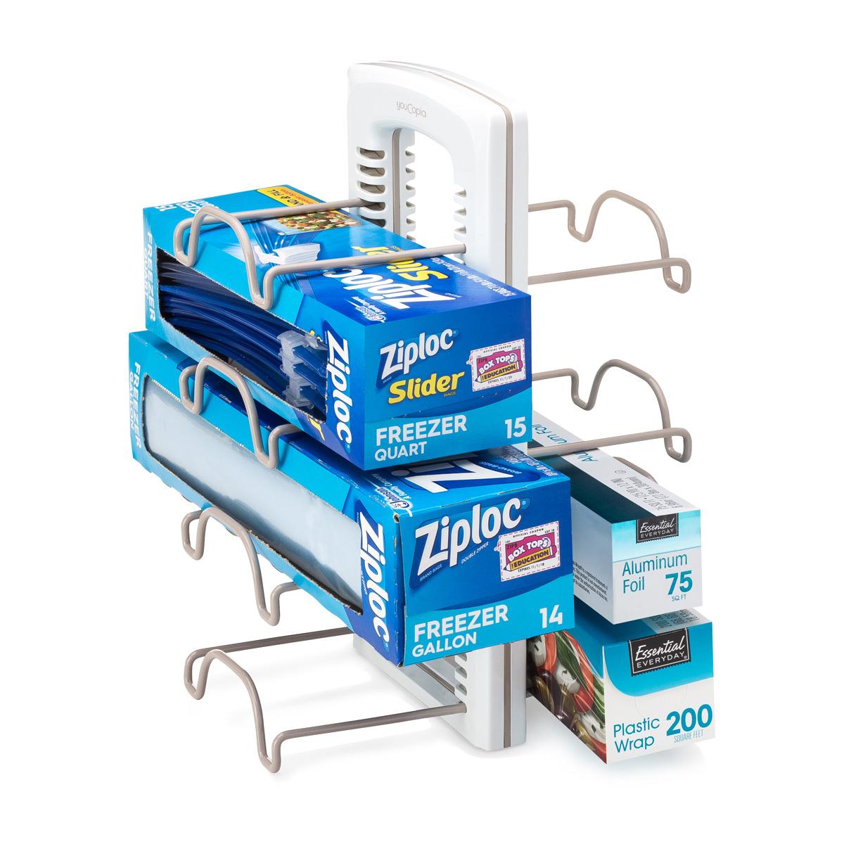 Ziplock and aluminum foil in a rack