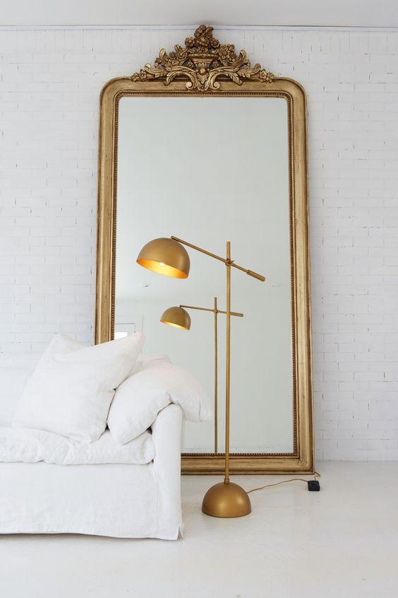 Vintage Ornate Brass Mirror