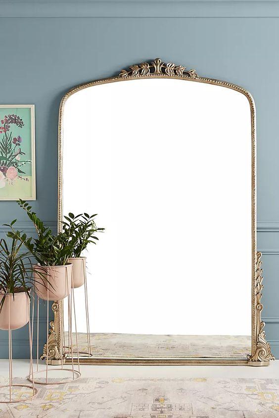 Standing Vintage Brass Ornate Framed Mirror