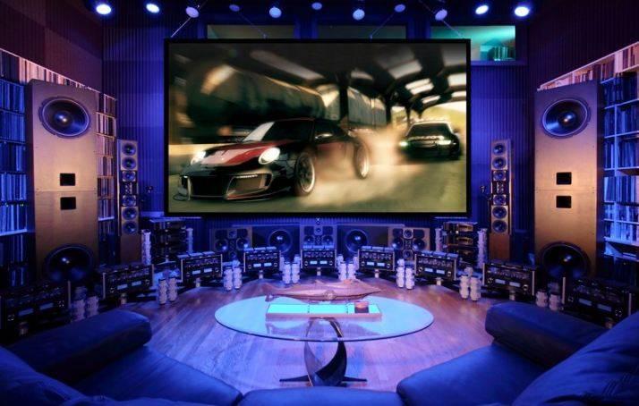 surround sound setup in video game den
