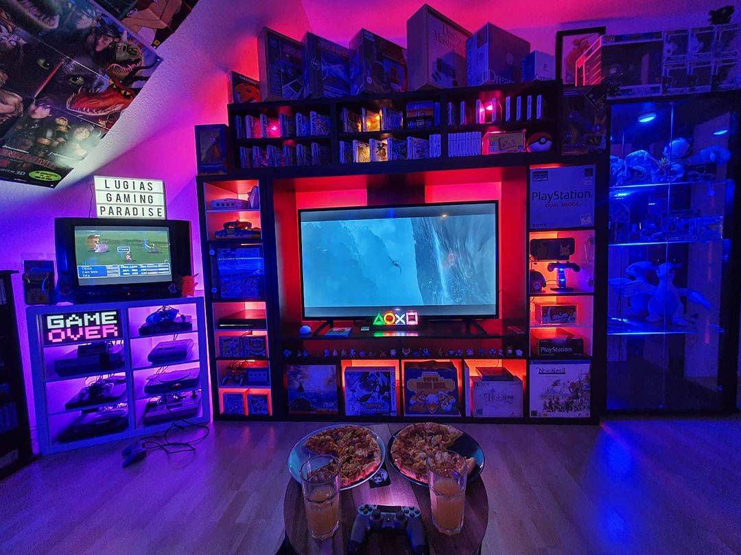 game room decor using video games and board games