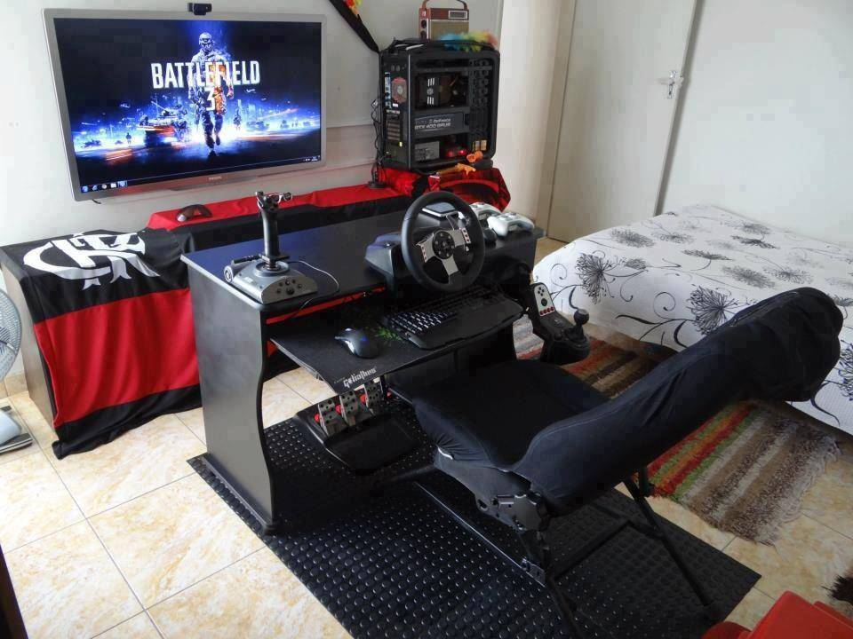 bedroom with elaborate video game set up