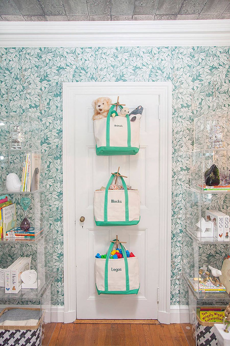 Bags hung behind the door offer a space-savvy way to store the toys and more