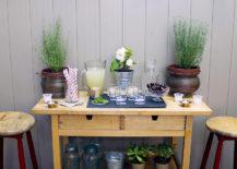 Bar Cart with Plant Decor