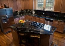 Black Granite and Wooden Cabinet