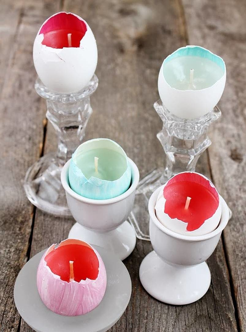 Candle in egg shells