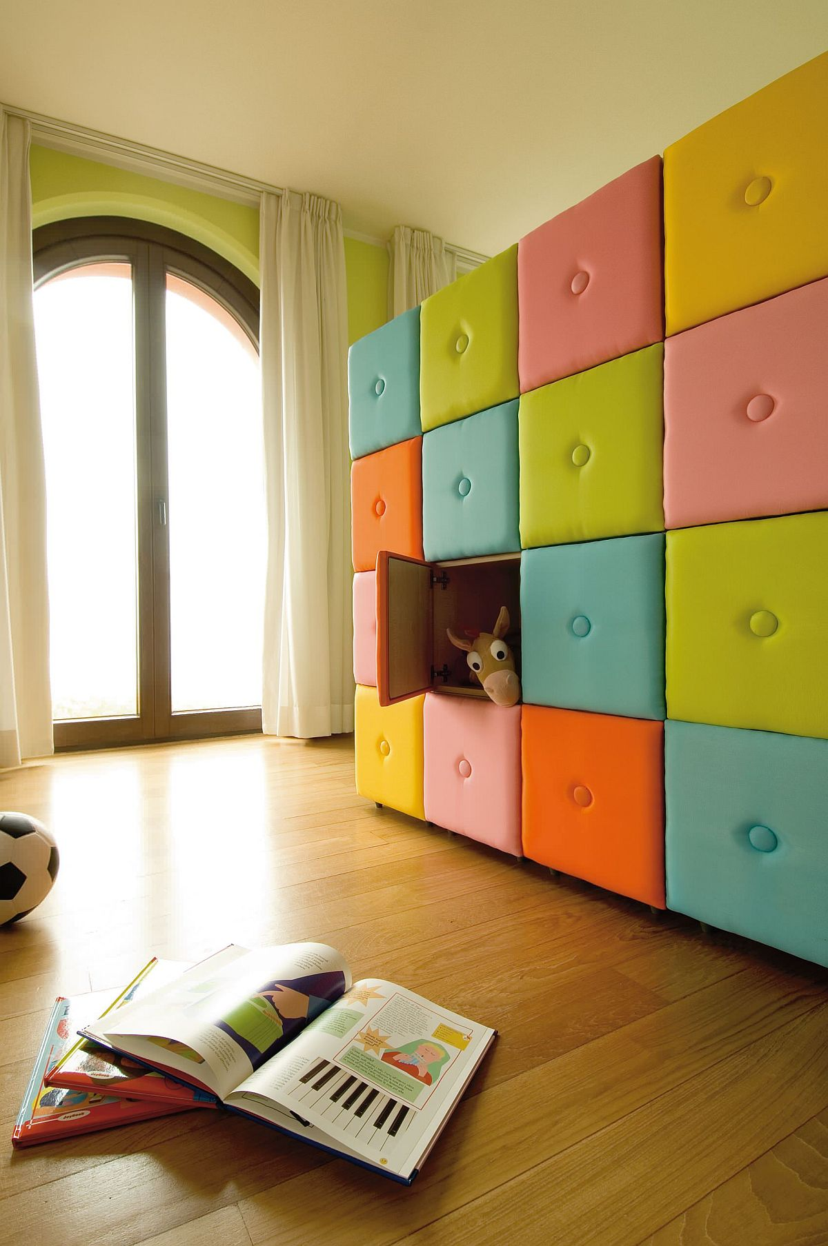 Colorful and creative wall of storage cubes in the kids' room
